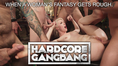 Dirty sluts have their fantasies actualized on HardcoreGangbang.com.