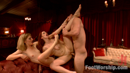 Two sexy foot maids tease, fuck and footjob their boss!