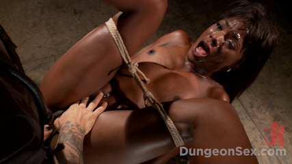 Ebony Submissive Fucked in Tight Bondage