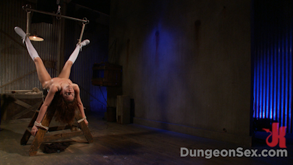 Dungeon Slut Suspended and Fucked by Two Huge Cocks
