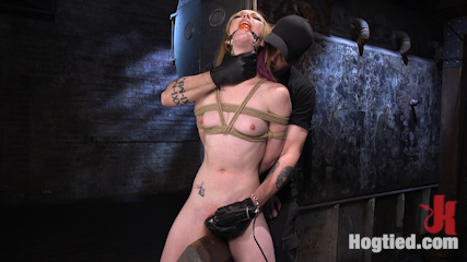 Brand New Red Head in Brutal Bondage, Suffering, and Made to Cum
