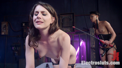 Beautiful slut shocked and anally strap-on fucked!