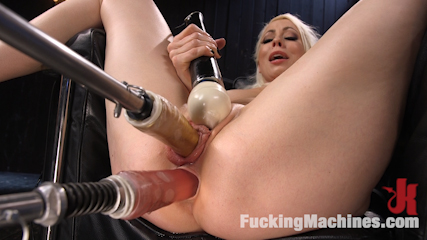 Blonde Goddess is Double Penetrated with Machines!!