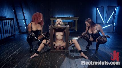 Hot Electro Sex Toy: Lesbian Slut Bound, Shocked, and Fucked!
