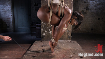 Stunning Ebony Slut in Brutal Bondage and Tormented