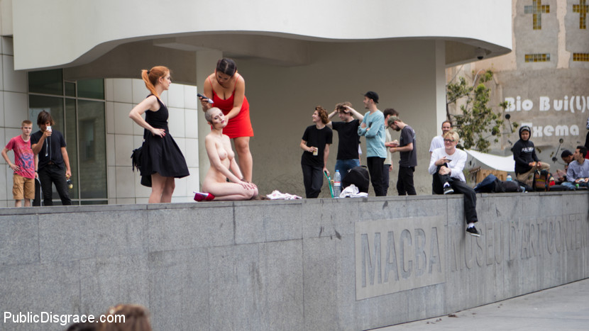 Petitie Slut Nerea Falco Shaves Head and Gets Gang Fucked in Public!