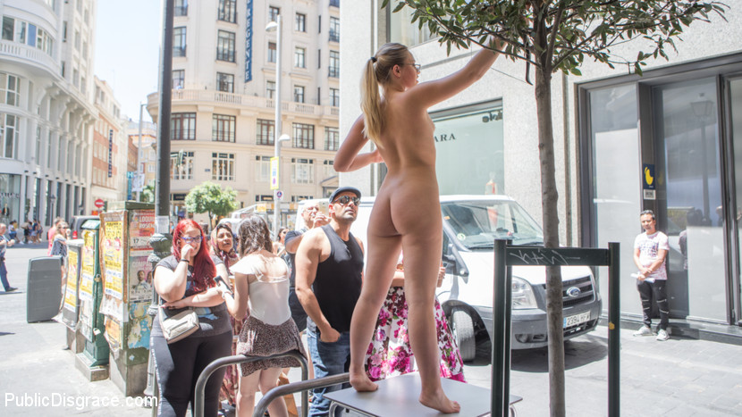 Perky Blonde Selvaggia Fully Nude in Public Gets Anal Fisted & DP'd