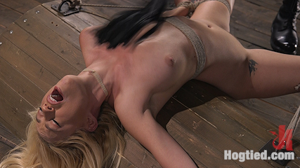 Sexy Blonde Mistress Submits to Rope Bondage and Suffering