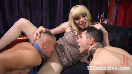 TS Dominatrix Jesse Fucks and Punishes a Submissive Man AND a TS Man!