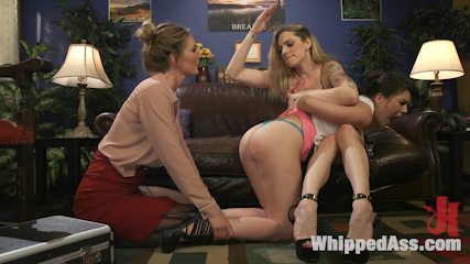 Mona Wales Takes Down Two Angry Roomies In 3-Way Lesbian Dom Session