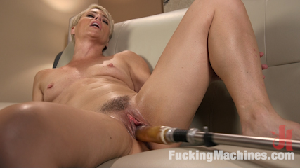 Sexy Blonde Cougar Takes Our Machines for a Spin