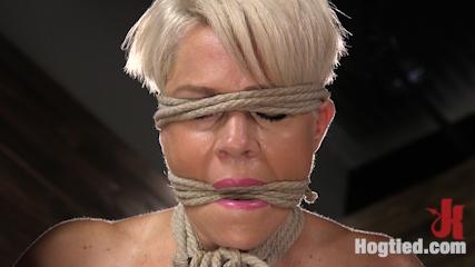 Blonde Buff MILF Helena Locke Made to Cum in Tight Rope Bondage!!