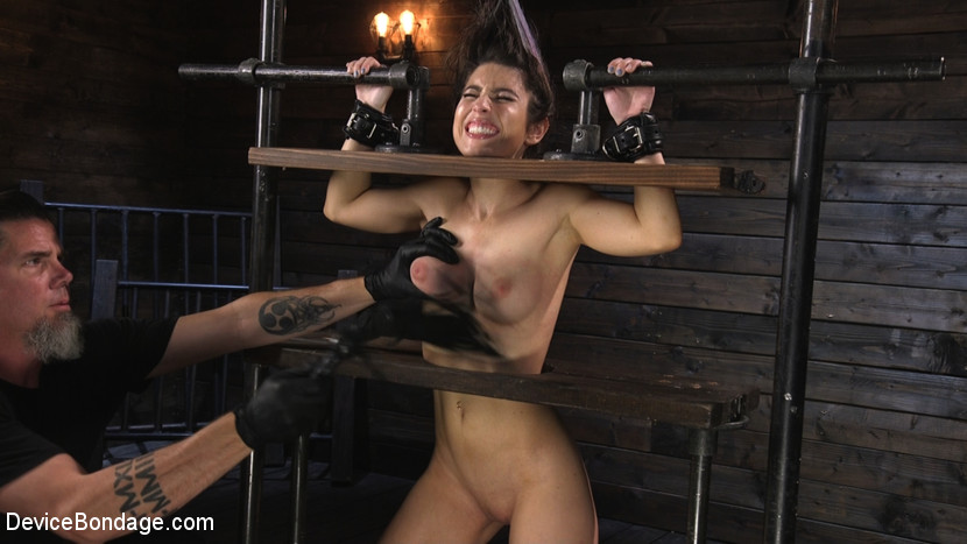 Petite Slut Serena Blair Punished and Made to Cum in Metal Bondage!!