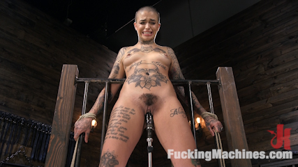 Tattooed Slut Machine Fucked in Tight Bondage