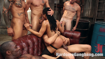 Debauchery: Cock Hungry Beauty Kira Noir Gang Banged by horny studs