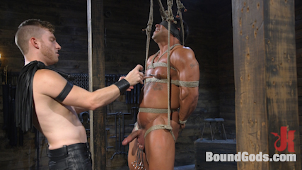 Bound bodybuilding god at the hands and torment of Mr Keys