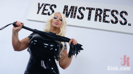MILF Dominatrix Takedown: Gigantic Titted Dominatrix Gets Bound & DP'd