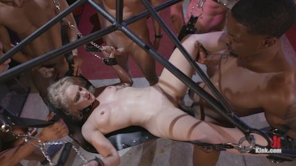 Caged Gangbang Slut: Submissive Lisey Sweet Gets Holes Cracked Open