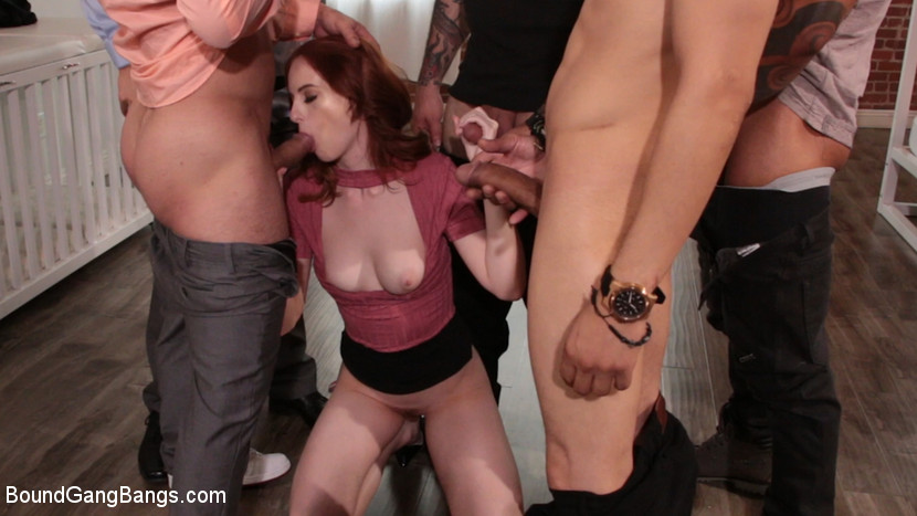 Alex Harper Bound and Gangbanged by 5 Horny Homebuyers