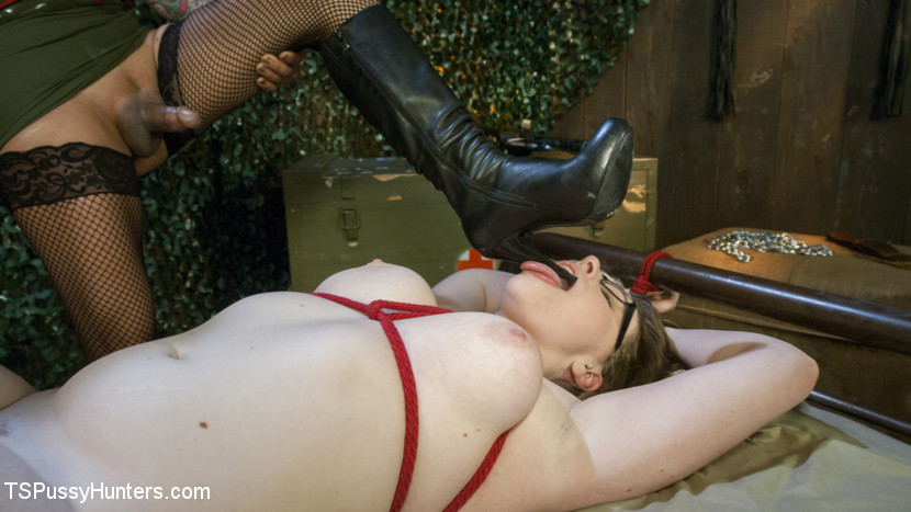 Screenshot #3 from Ts Foxxy Turns Busty Foot Soldier Into Boot Worshipping Slut movie