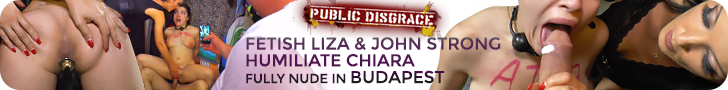 Public Disgrace Fetish Liza & John Strong Humiliate Chiara fully nude in Budapest