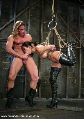 Hot blonde lesbian strapon sex