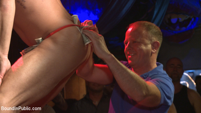 Horny bar patrons have fun with the hot go-go dancer for SF Pride!